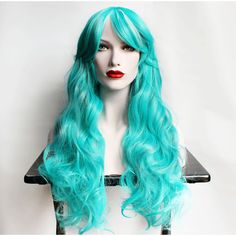35 Off Long Teal Wig Curly Teal Green With Pastel Lavender Purple and... ($69) ❤ liked on Polyvore featuring beauty products, haircare, hair styling tools, bath & beauty, black, hair care, wigs, straight iron, curly hair care and flat iron