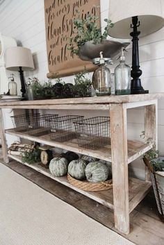 DIY Farmhouse Dining Room buffet - Could be a great TV console, sofa table, entryway table, kitchen island, & so much more! Great tutorial and farmhouse style decor inspiration! - Home Decor Diy Cheap Farmhouse Style Decorating, Farmhouse Decor, Modern Farmhouse, Farmhouse Buffet, Dining Buffet, Farmhouse Ideas, Buffet Console, Farmhouse Design, White Farmhouse