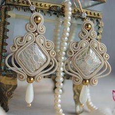 Soutache Necklace, Tassel Earrings, Ring Earrings, Shibori, Boho Jewelry, Jewelery, Diy Accessories, Beaded Embroidery, Tatting