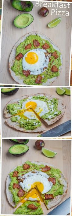 Avocado Breakfast Pizza with Fried Egg.   A simple, tasty and satisfying breakfast pita pizza topped with mashed avocado and a fried egg. #food #pizza