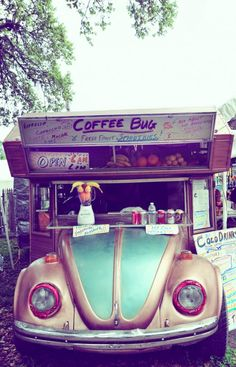 This cute little coffee shop is Brad Frank's Coffee Bug. It's built around a 1969 Volkswagen Beetle. Frank tows it around fairs and festivals. Photographer Keely Marie Scott spotted it in 2010 at an antique fair in Round Top, Texas.