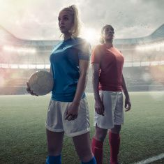 Women Soccer Heroes stock photo