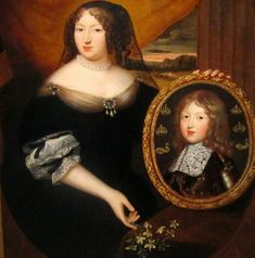 The widowed Anne of Austria presenting a portrait of Louis XIV as a boy, circa 1643 by Pierre Mignard Versailles, Ludwig Xiv, Death Becomes Her, Mourning Dress, French Empire, Louis Xiv, Female Portrait, Austria, Portraits