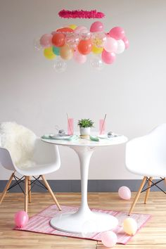so many people fill their kid's bedrooms with balloons. i just want to hang this chandelier. maybe it's because i love chandeliers.