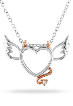 Delmar 0.01 ct Diamond & Pink Silver Heart Pendant. I like the necklace, but I couldn't find it at the link...