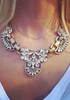 Floral Gemstone Diamante Necklace - Antique Gold Chain Necklace