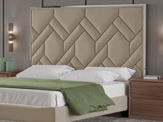 Complete upholstered bed with polished stainless steel details. Bedroom Cupboard Designs, Wardrobe Design Bedroom, Bedroom Bed Design, Bedroom Furniture Design, Bed Furniture, Bed Back Design, Bed Frame Design, Bed Headboard Design, Headboards For Beds