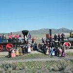 Volunteers and Golden Spike staff dressed in period costumes reenact the famous