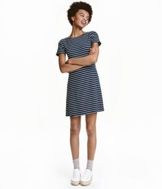 Ribbed Jersey Dress | Dark blue/striped | Ladies | H&M US