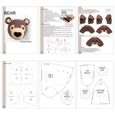 Plushie Patterns, Pdf Patterns, Stuffed Toys Patterns, Doll Patterns, Print Patterns, Felt Crafts, Fabric Crafts, Safari Theme Nursery, Bear Felt