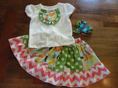 Adorable Ruffled Bib Top w/ One of a Kind Twirly Chevron Skirt....Custom, Boutique Set with M2M Hairbow on Etsy, $44.00