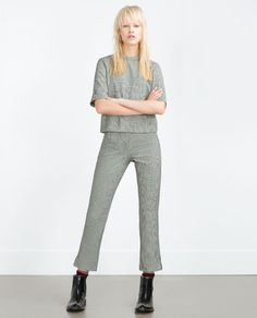 Image 1 of HOUNDSTOOTH TROUSERS from Zara