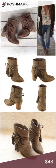"NIB Taupe Wrapped Tassels Ankle Booties NIB Taupe Wrap Around Tassels Ankle Booties. These boho beauties are just what your fall wardrobe is asking for! A rich vegan suede upper with wrap around tassel ties can be tied to your preference. Stacked wooden heel, pull on style, lightly padded sole for comfort. Fits true to size. Heel approx 3"", circumference approx 11.25"". Shaft height approx 5"" from arch. No Trades and No PaypalAvailable in 5.5, 6, 6.5, 7, 7.5, 8, 8.5, 9, 10. Price is firm but…"