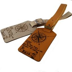 Personalized Leather Luggage Tags with Geographical Coordinates Latitude Longitude Tag Monogram Monogrammed Customized Gifts Name ID