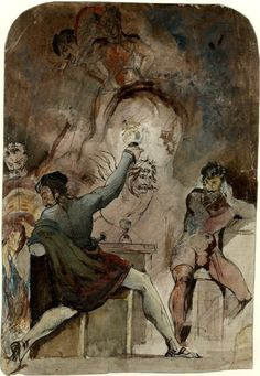 """Anerbach's Keller in Goethe's """"Faust"""", part I; man standing to left, turning to look left over his shoulder in alarm, holding up chalice to other figures in centre, another figure watching from r Pen and grey ink and watercolour with gum arabic and graphite Verso; figure studies; man seated on pedestal in reclining position, studies of bones to right and feet below Graphite by: Theodor Matthias von Holst, 1818-1844"""