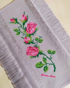 Bed Sheets, Towel, Needlepoint Patterns, Cross Stitch Embroidery, Floral Illustrations, Cross Stitch Art, Ribbons, Embroidery Ideas, Stitching