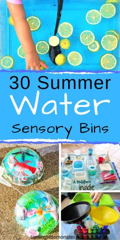 Cool down these summer holidays with 30 of the coolest water based sensory bins. These sensory activities are fantastic for babies, toddlers and preschoolers who need to strengthen fine motor skills, and learn through play. Water Play Activities, Sensory Activities For Preschoolers, Summer Activities For Toddlers, Infant Activities, Summer Themes For Preschool, Toddler Fine Motor Activities, Holiday Activities, Educational Activities, Learning Activities