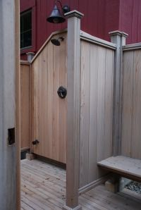 Simple Cape Cod style outdoor shower. Must have bench and add hooks
