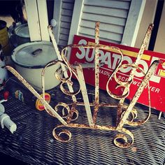 Fabulously shabby iron mag rack $20 pick up only just near Truro or delivery nearby in Barossa/Adelaide by arrangement for a reasonable fee by scullerydaysvintage