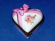 PINK WHITE HEART PINK BOW - Porcelain Limoges from France - Limoges Factory Co.