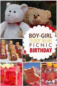 Boy's and Girl's Teddy Bear Picnic Birthday Party Ideas