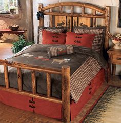 Moose Creek Log Bedroom Furniture- A Black Forest Decor Exclusive - Featuring standing-dead lodgepole and ponderosa pine in an Early American stain with carved moose and pine tree panels on the headboard