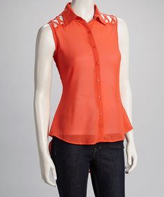 Take a look at this Orange Crisscross Sleeveless Hi-Low Button-Up by Oh My Julian on #zulily today!