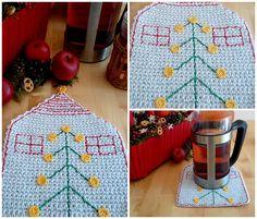 Items similar to Christmas HotPad, Christmas Tree Coaster, Stocking Stuffer on Etsy Crochet Christmas, Christmas Fun, Holiday Wear, Christmas Tree Decorations, Stocking Stuffers, Kids Rugs, Creative, Handmade Gifts, Peeps