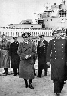 """Hitler in Poland by Heinrich Hoffmann -- The Supreme Commander with the brave crew of the """"Schleswig-Holstein""""."""
