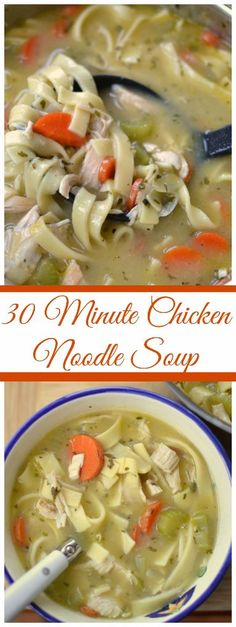 I just love soup. It really does warm the soul. This 30 Minute Chicken Noodle Soup combines onions, celery, carrots, roasted chicken and noodles in a perfectly seasoned creamy broth. It is easy to prepare and can be completed in 30-35 minutes depending on the thickness of your egg noodles.