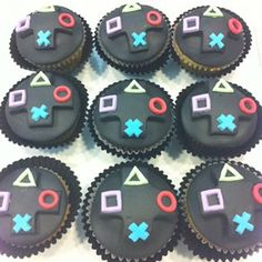 Playstation cupcakes Matt has a birthday coming up and I'm a little tired of making guitar cakes!: