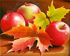 """Three Apples"" Oil painting by Varvara Harmon Apple Painting, Fruit Painting, Autumn Painting, Autumn Art, Arte Do Galo, Apple Art, Fruit Photography, Still Life Art, Color Pencil Art"
