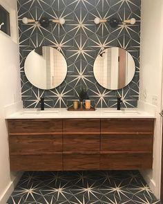 Cement Tile Shop - Encaustic Cement Tile Zuma I - New! Cement Tile Shop - Encaustic Cement Tile Zuma I - Neu! Chic Bathrooms, Modern Bathroom, Small Bathroom, Bathroom Ideas, Cement Tiles Bathroom, Look Wallpaper, Bathroom Fixtures, Bathroom Renovations, Bathroom Inspiration