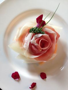 The prosciutto e melone at the brand new Aman Canal Grande Venice. A rose made of pork. Exquisite and debauched —