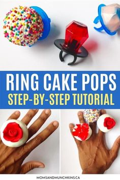 Do you just love Cake Pops and wish you could literally put a ring on it? These fabulous Ring Cake Pops are definitely THE wearable dessert of your dreams! All you have to do is follow our step-by-step tutorial right here to make it a reality for you... Mini Dessert Recipes, Easy No Bake Desserts, Great Desserts, Party Desserts, Wedding Desserts, Mini Desserts, Cake Recipes, Take The Cake, Love Cake