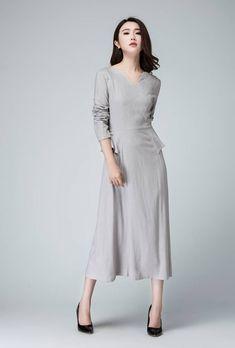 Light Gray Dress Linen Dress Maxi Dress Spring Dress Maxi