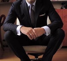 Slim cut navy suit.
