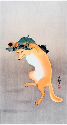 Ohara Koson // Dancing fox Just thought this was cute Illustrations, Illustration Art, Ohara Koson, Art Asiatique, Art Japonais, Fox Art, Japanese Painting, Japanese Prints, Japan Art