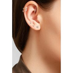 Maria Tash 18-karat gold diamond earring ($350) ❤ liked on Polyvore featuring jewelry, earrings and maria tash jewelry