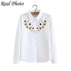 Real Photo chrysanthemum embroidery shirt women 2017 spring turn-down collar long sleeve Korean casual style
