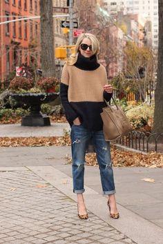 distressed jeans, oversized sweater - fancy heels
