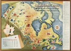 Figure 5. Produced in 1955 by the Canadian General Electric Company, this map commemorates the industrial development that would carry Canada to its 1967 centennial
