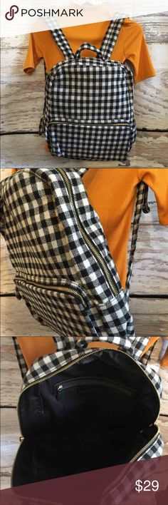 Wool blend checkered backpack Great condition, big capacity. Firm unless bundled Bags Backpacks