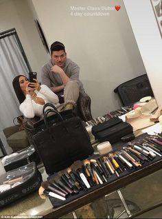 The countdown is on:Kim Kardashian and makeup artist Mario Dedivanovic got some prep in on Monday ahead of their trip to Dubai this week to hold a makeup Masterclass