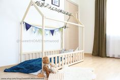 Children bed 190x90cm toddler bed house bed by SweetHOMEfromwood