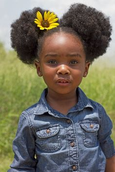 Girl with Afro Puffs, Curly Hair, Natural Hair, Hair Style #naturalhairstyles