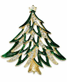 Charter Club Brooch, Gold-Tone Green and Clear Crystal Tree Pin - Fashion Jewelry - Jewelry & Watches - Macy's Vintage Costume Jewelry, Vintage Costumes, Vintage Jewelry, Crystal Tree, Clear Crystal, Jeweled Christmas Trees, Jewelry Tree, Women's Jewelry, Luxury Jewelry