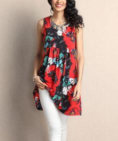 Loving this Red Floral Empire-Waist Sleeveless Tunic Dress on #zulily! #zulilyfinds