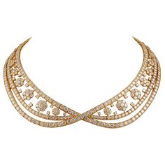 VAN CLEEF & ARPELS Diamond SnowFlakes Necklace | From a unique collection of vintage choker necklaces at http://www.1stdibs.com/jewelry/necklaces/choker-necklaces/
