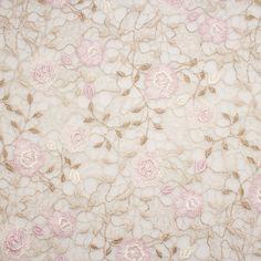 Designer Fine Gold/Pink Floral Guipure Lace (£279.90/metre)   Joel & Son Fabrics